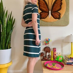 Vintage Dresses - Mod 1960s striped mock neck mini dress S/M